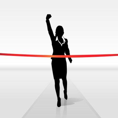 Businesswoman crossing finish line