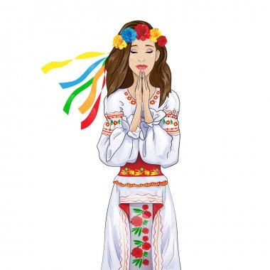 Woman pray clasp hands, closed eyes girl wear ukrainian national traditional costume clothes. Vector illustration stock vector