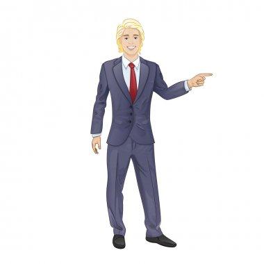 Businessman point finger