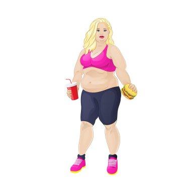 Overweight woman eat burger