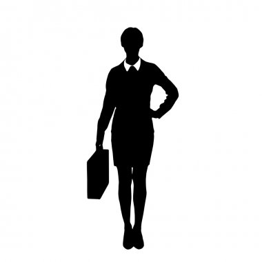 Silhouette of businesswoman holding briefcase