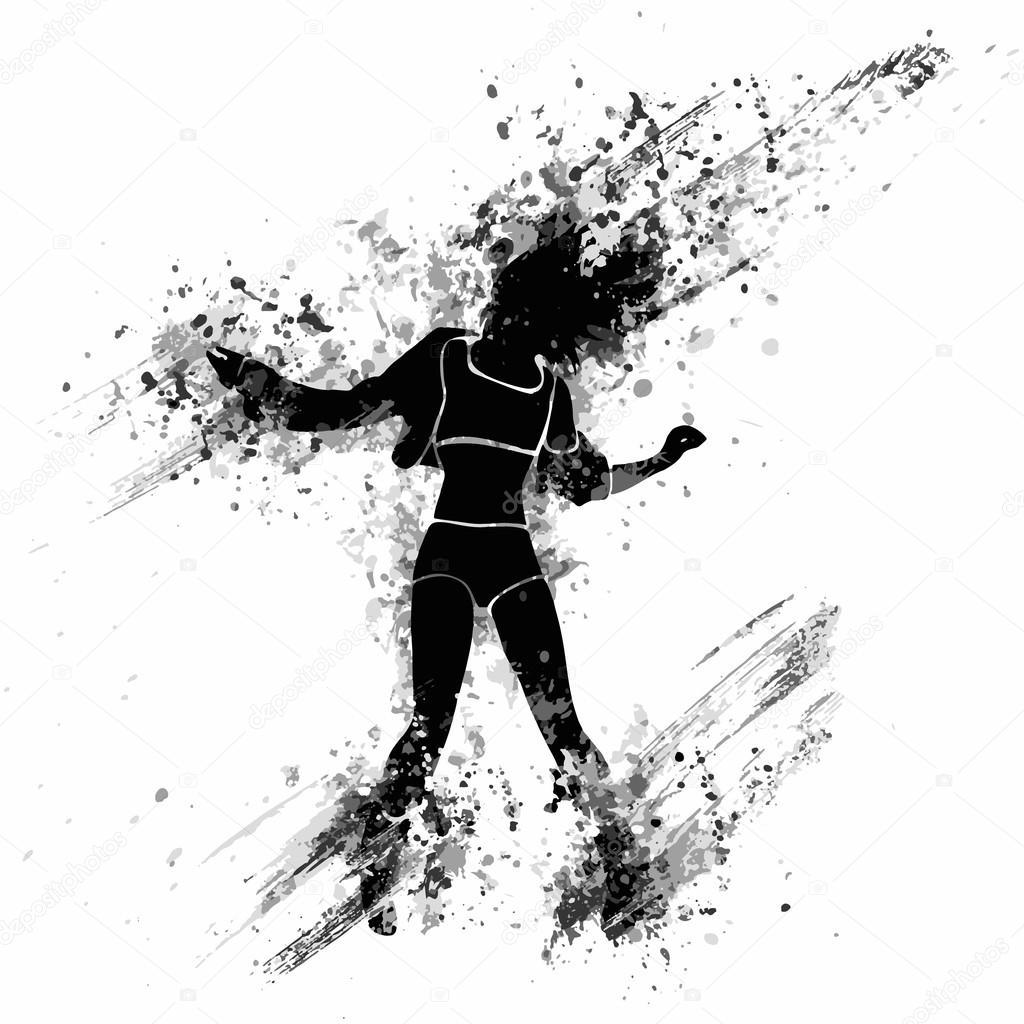 Splash paint silhouette of dancing girl stock vector - Blanco y negro paint ...