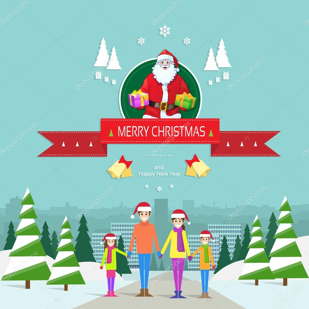Auguri Di Natale Famiglia.Cartolina D Auguri Di Natale Con La Famiglia Vettoriali Stock