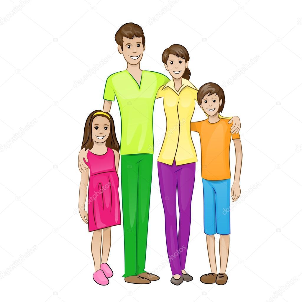 Dibujos Una Familia De 4 Personas Personas De La Familia Feliz