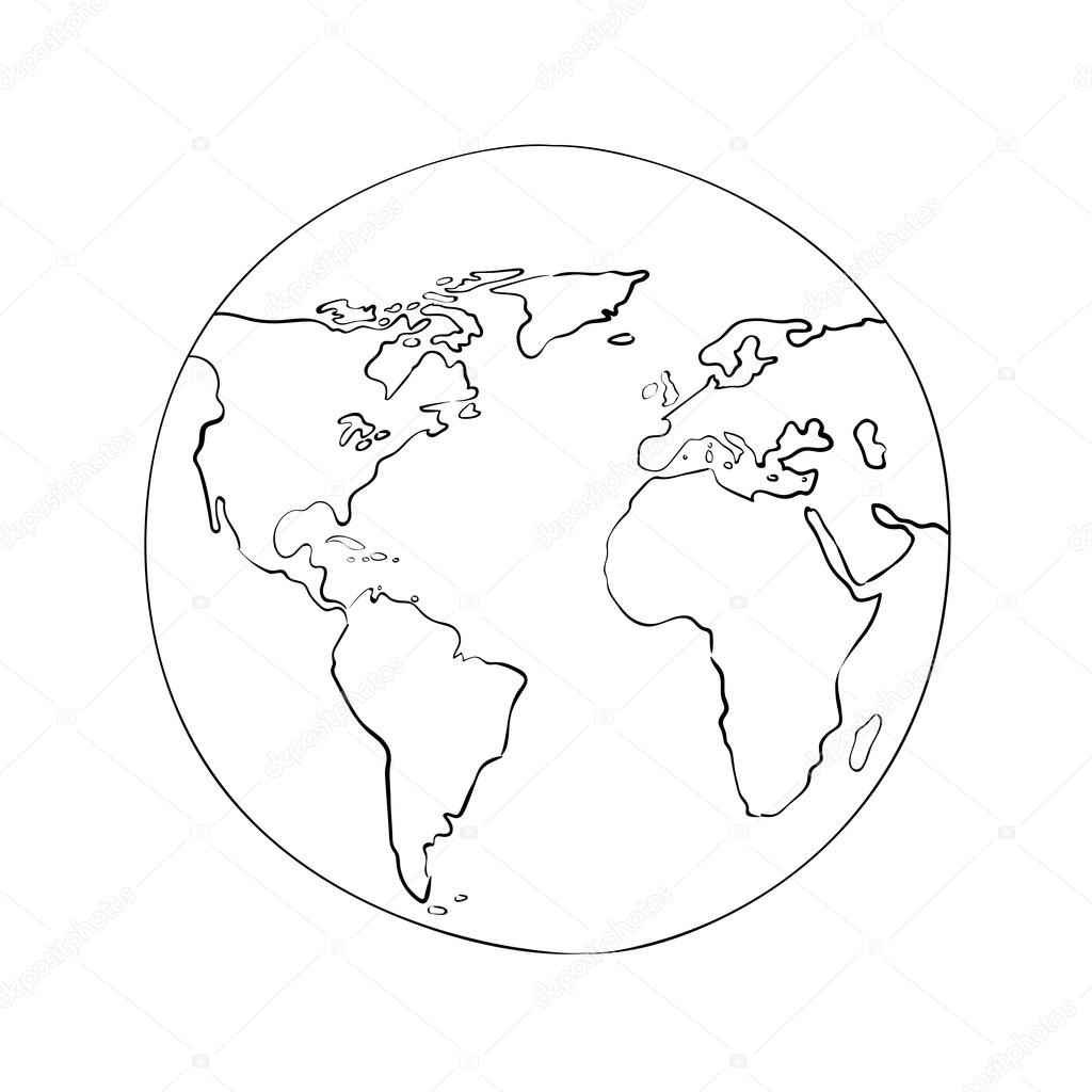Drawing world globe pics stock photos all sites sketch globe world map globe symbol gumiabroncs Images