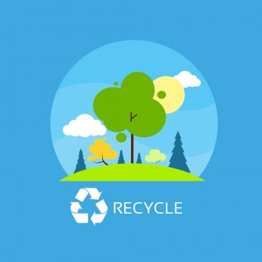 Recycle flat eco icon