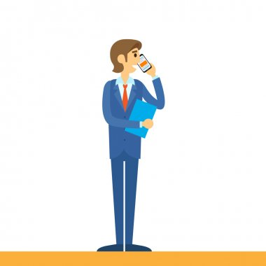 Businessman talking on mobile phone call
