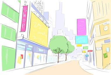 Street center city view