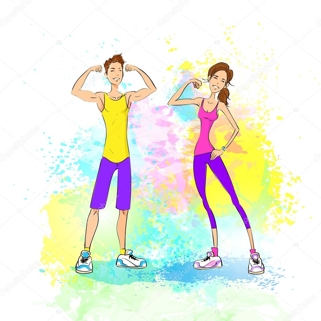 Man And Woman Show Bicep Muscles Stock Vector Mast3r 65443537