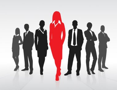 Red Businesswoman Silhouette