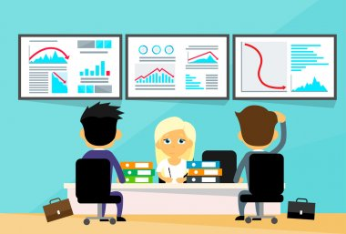 BusinessPeople at Office with Financial Crisis