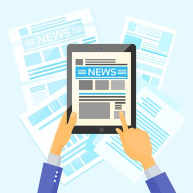 Hands Holding Tablet with News