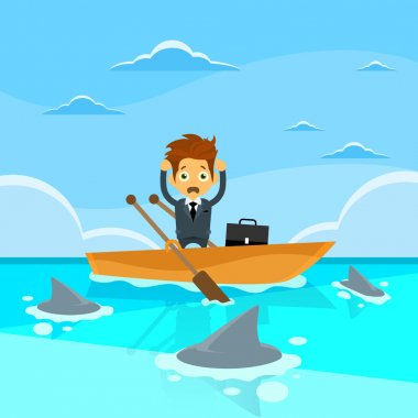 Businessman at Sea Water in  boat