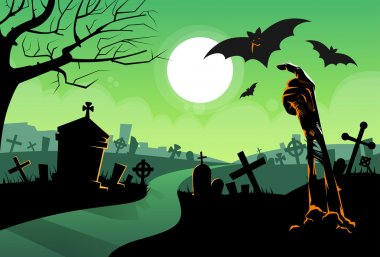 Halloween vector background with cemetery at night stock vector