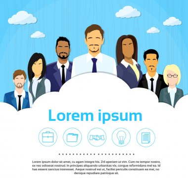 Business People Group ,Team ,Cloud, Copy Space ,Flat Vector Illustration clip art vector