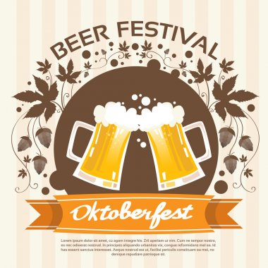 Oktoberfest Festival with   Beer Mugs