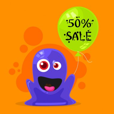 Sale Promotion with Alien and Balloon