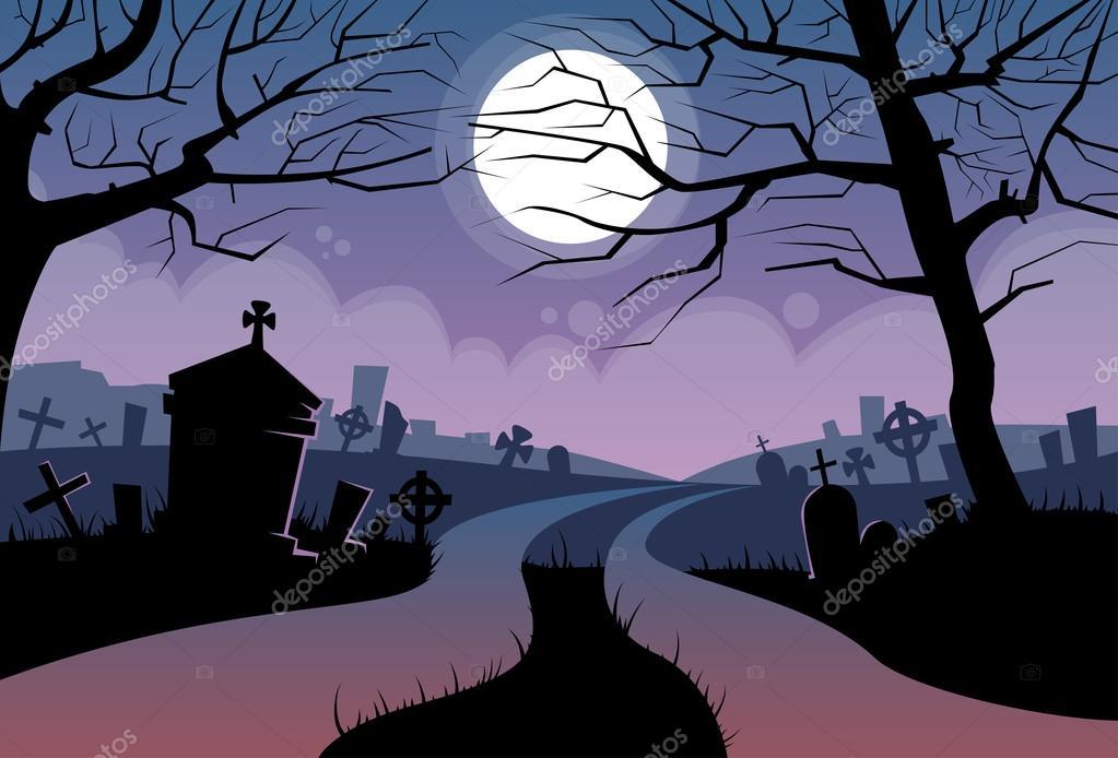 Fondo Halloween Con Cementerio