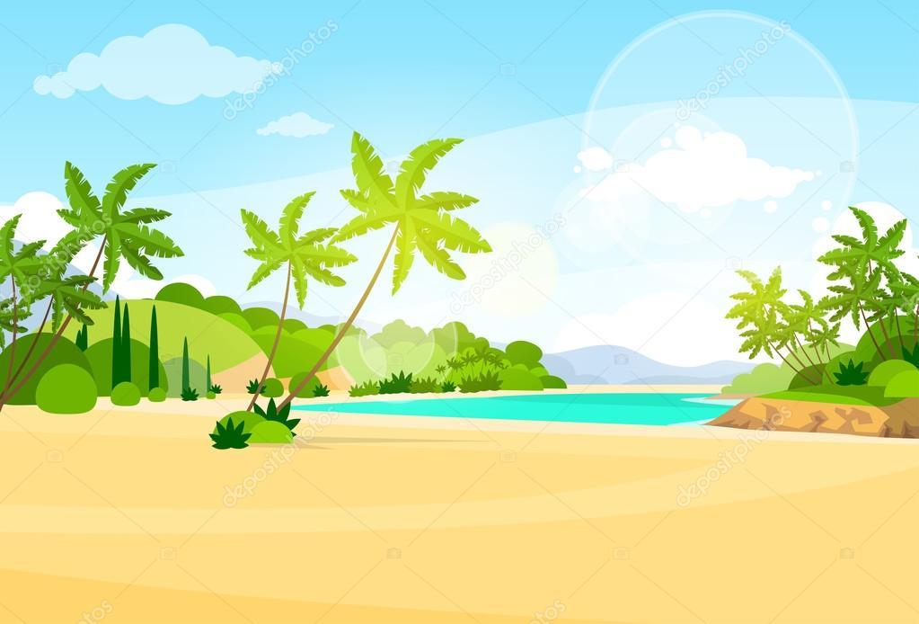 tropical beach with palm trees on island