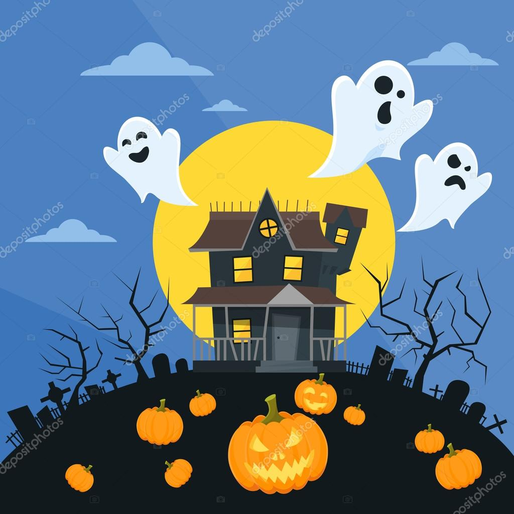 Halloween dům s duchy — stock vektor mast r