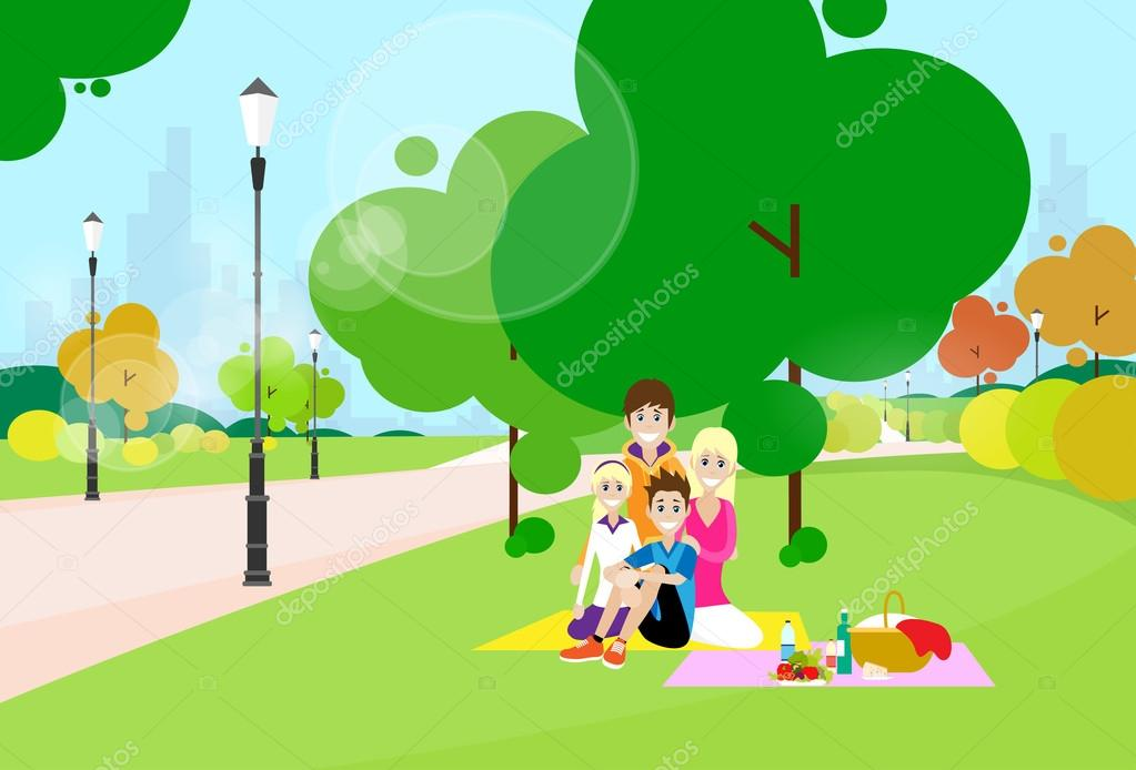 Family with  children on picnic
