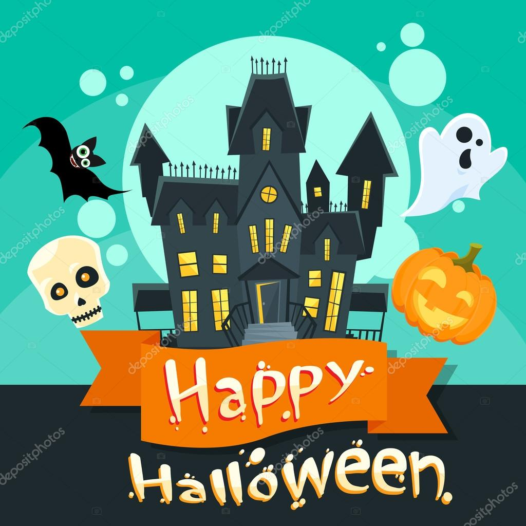 Halloween House Invitation Card Stock Vector Mast3r