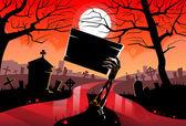 Halloween pozadí s hřbitov