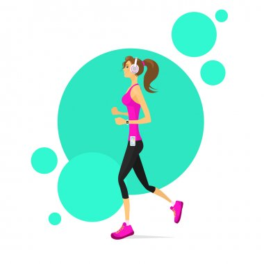 Woman Run with Fitness Tracker