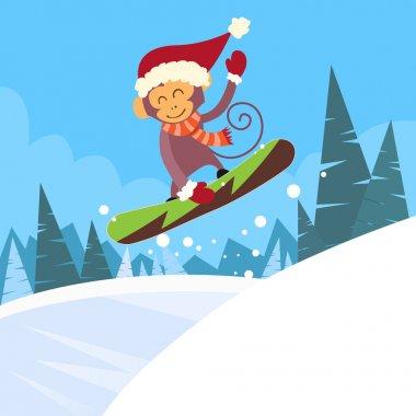 Monkey on Snowboarder Sliding Down