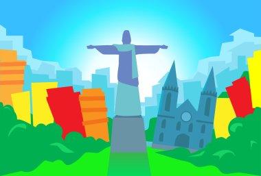 Rio De Janeiro ,Abstract Skyline City, Skyscraper Silhouette, Flat Colorful ,Vector Illustration clip art vector