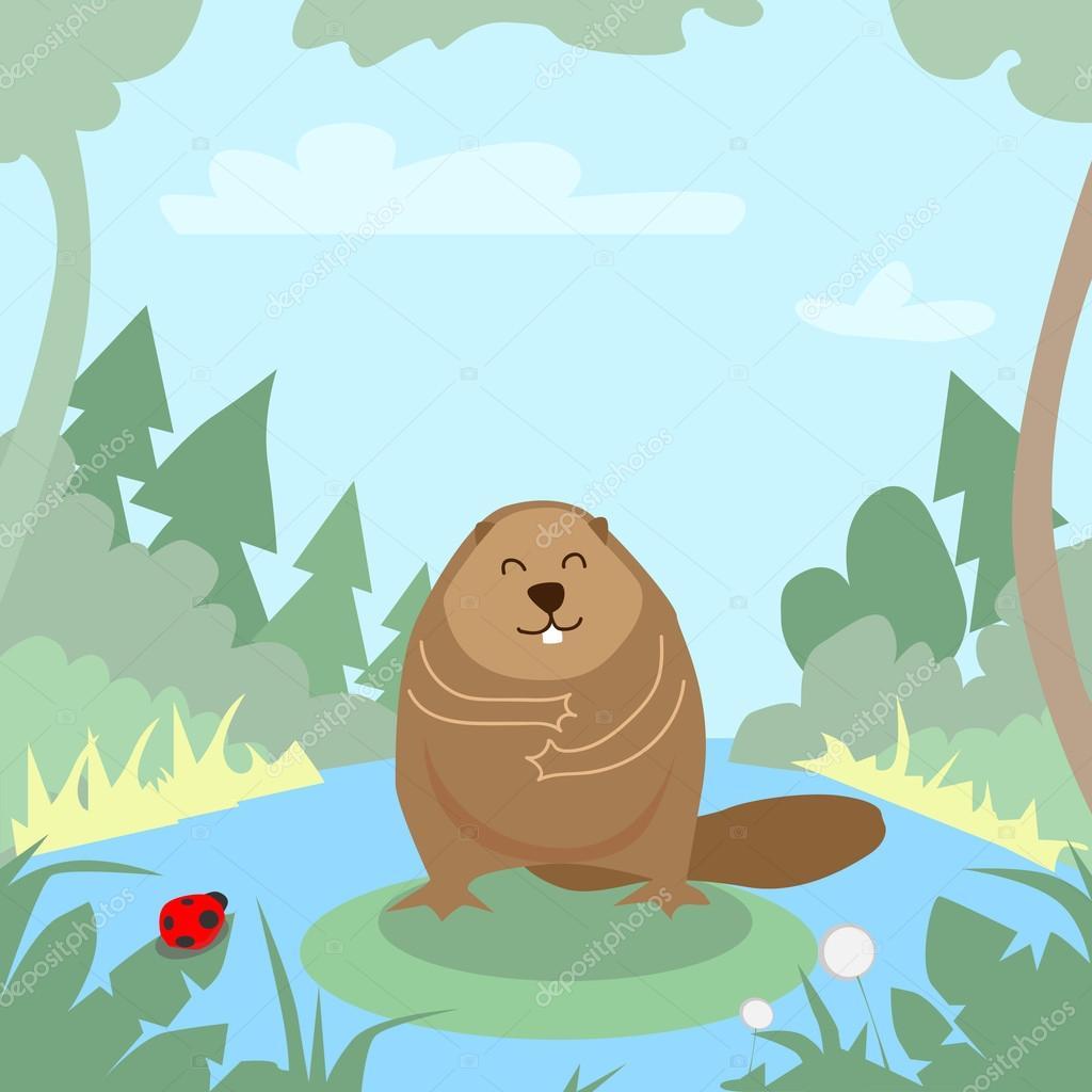 Cartoon Beaver in Green Forest