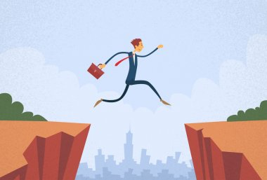 Businessman Jumping Over Cliff Mountain