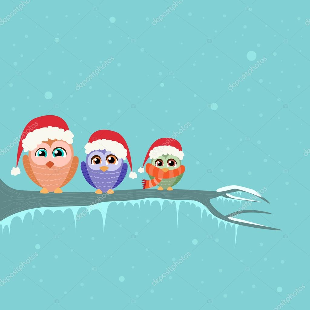 Christmas card with owls in Santa hats