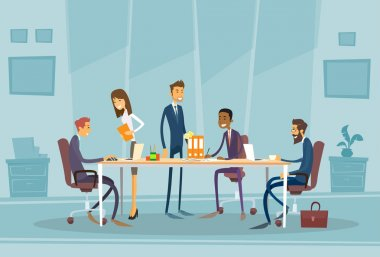 Business People at Meeting in Office, Flat Vector Illustration stock vector