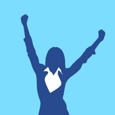 Excited Business Woman Silhouette