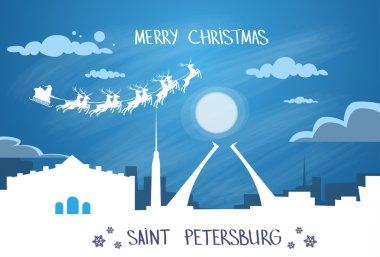 Santa Claus Sleigh  over Saint Petersburg