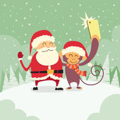 Fotografie Santa Clause and  Monkey  Taking Selfie