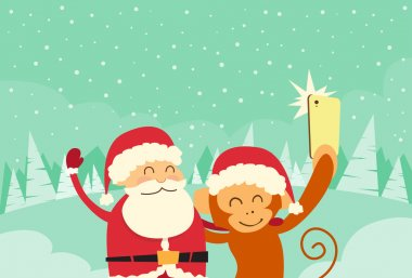 Santa Clause and  Monkey  Taking Selfie