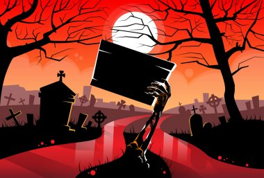 Zombie Dead  Hand Holding Sign Board