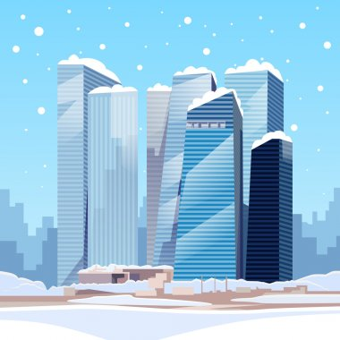 Winter City with Skyscrapers