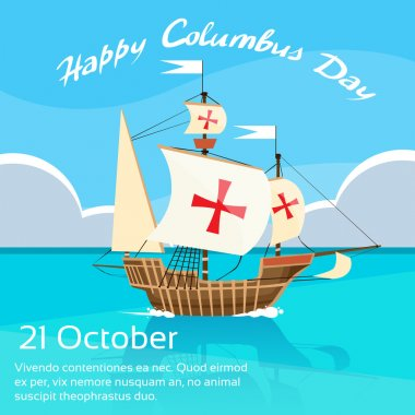 Happy Columbus Day with Ship