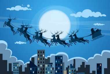 Santa Claus and Sleigh with Reindeer