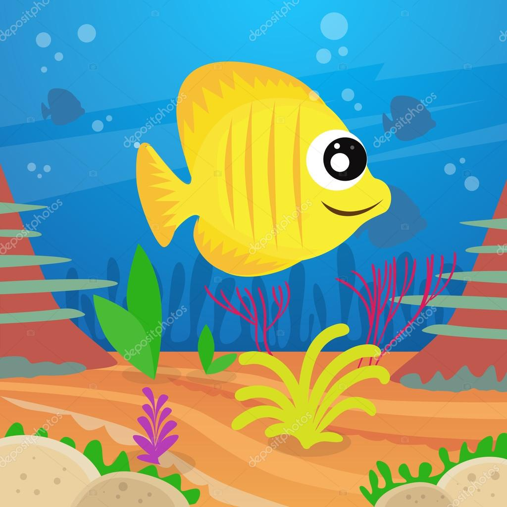 Yellow Cartoon Colorful Fish