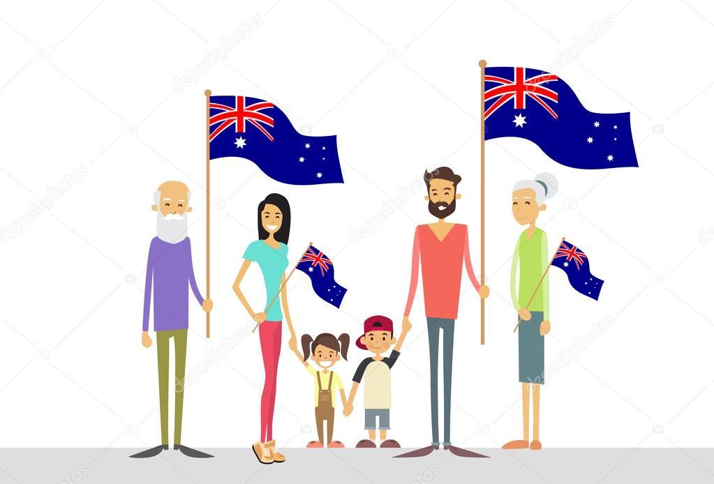 Familia con niños y Australia — Vector de stock © mast3r #97040298