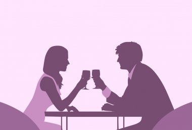 Couple Sitting Cafe Table Romantic Love Violet Color Silhouettes Dating Vector Illustration clip art vector