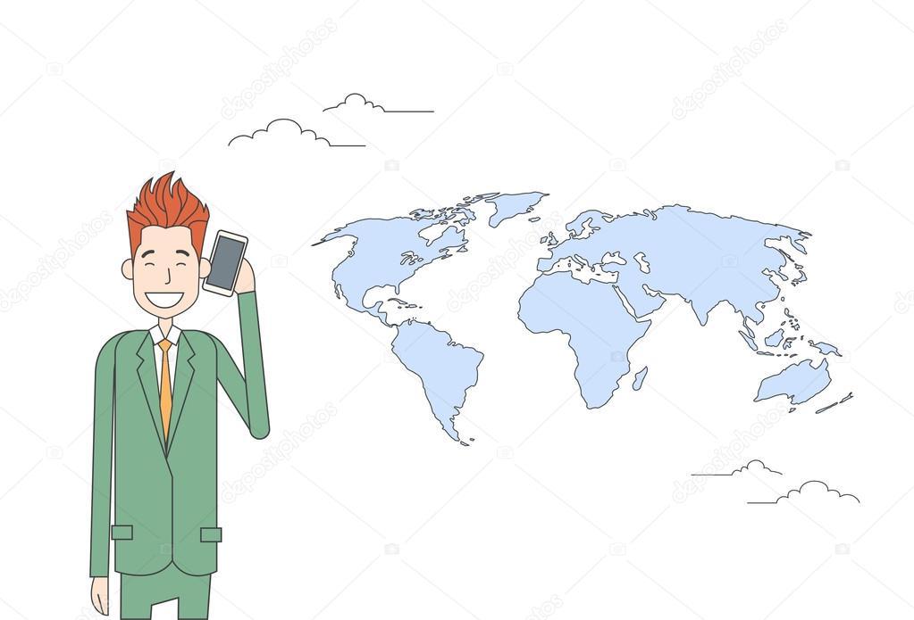 Uomo Daffari Smart Cellulare Talk Sopra Rete Comunicazione Concetto