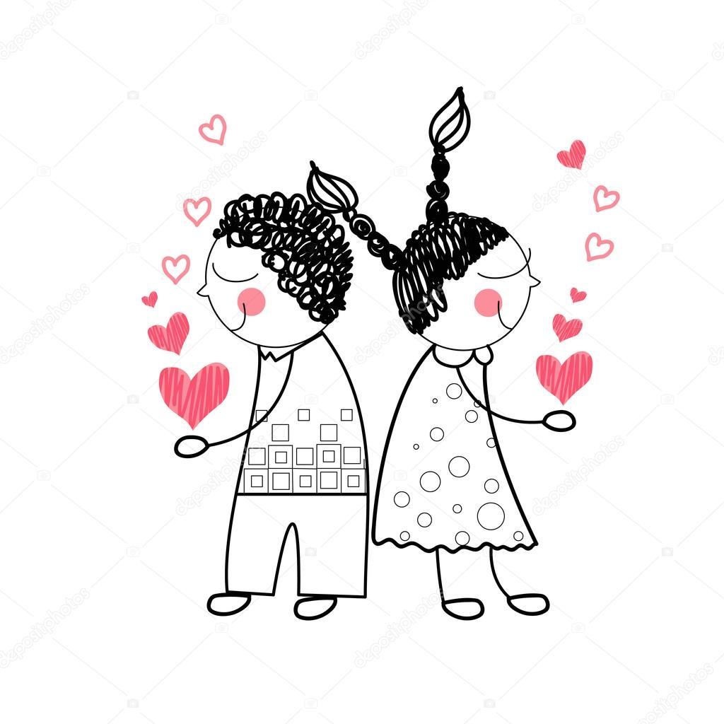 Paar Rote Herz Form Liebe Hand In Hand Einfache Linie Zeichnen