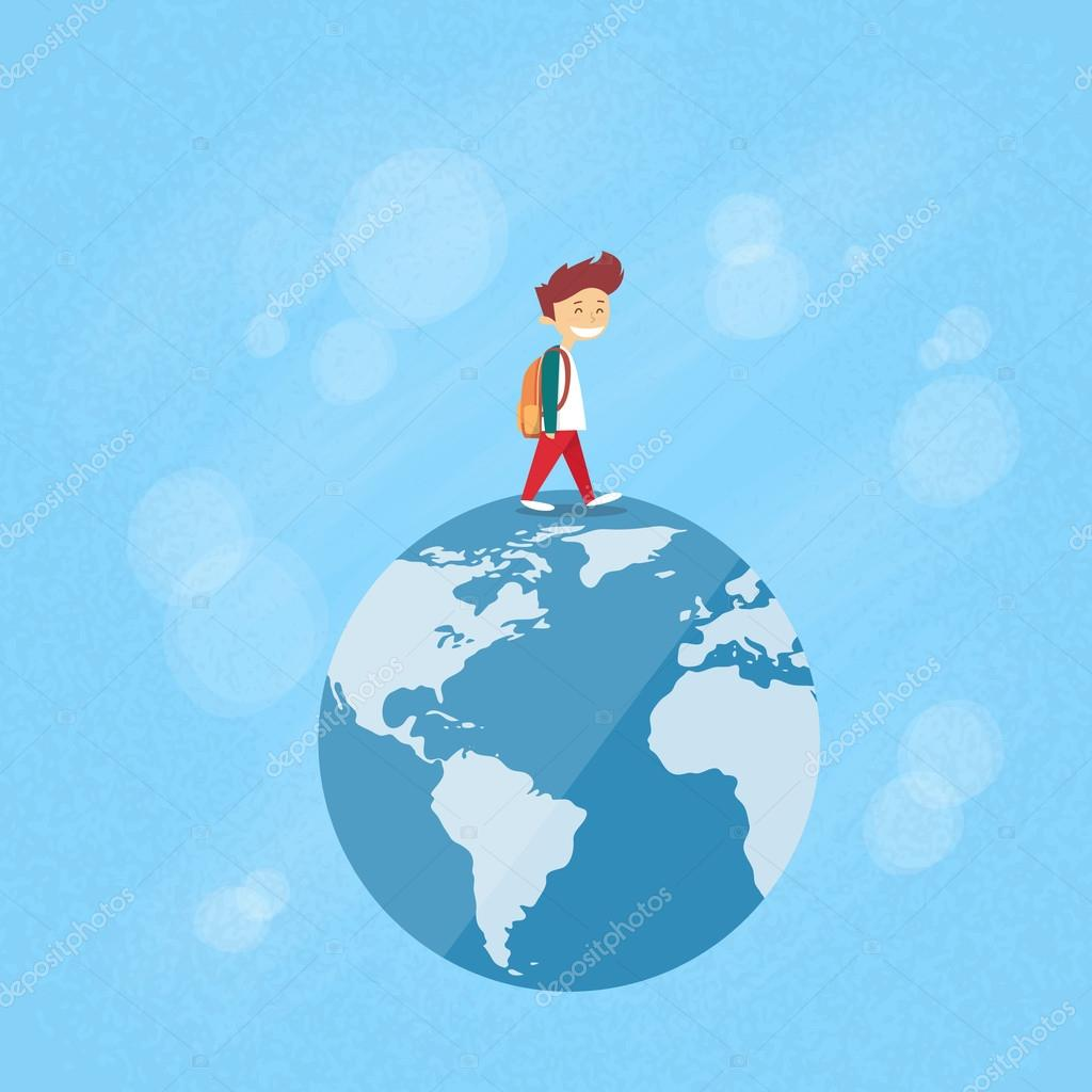 Little boy walk on globe world map concept travel archivo imgenes little boy walk on globe world map concept travel archivo imgenes vectoriales gumiabroncs Choice Image