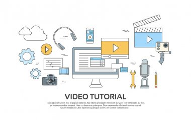 Video Tutorial Editor Concept Modern Technology  Set Icons