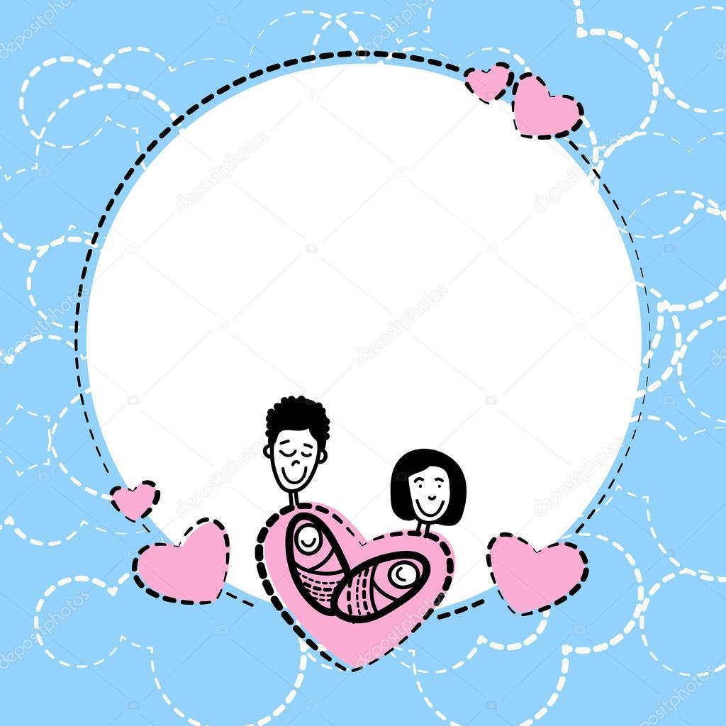 Dibujo marco mano dibujar los padres de familia niños corazón amor ...